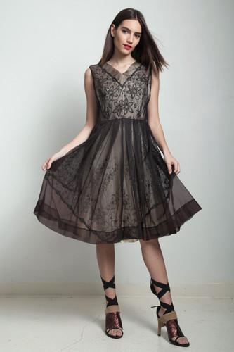 vintage 50s dark brown floral sheer dress glitter pleated LARGE L