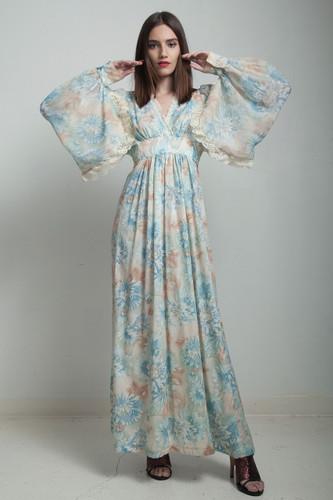 vintage 70s bohemian maxi dress blue angel sleeves empire waist lace pastel floral printed cotton MEDIUM M
