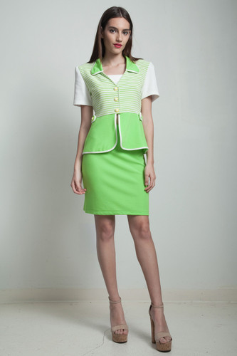 vintage 80s peplum top mini skirt matching set lime green stripes SMALL S