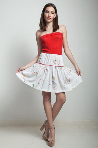 vintage 80s mini knit dress strapless casual red white hand print MEDIUM M