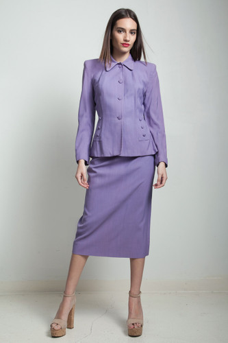 vintage 40s skirt suit purple periwinkle nipped waist MEDIUM M