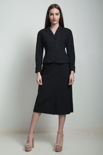 vintage 50s skirt suit black pleated Julius Garfinckel SMALL S