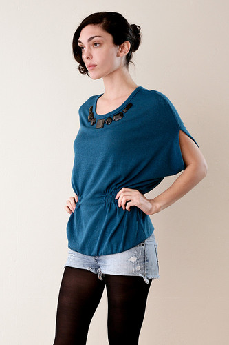Blue Cocoon Knitted Blouse with Black Jewels ONE SIZE