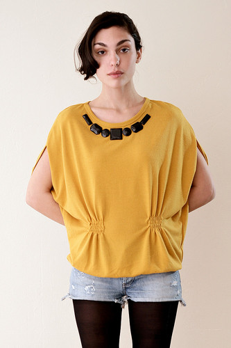 Mustard Cocoon Knitted Blouse with Black Jewels ONE SIZE
