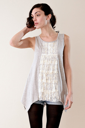Millau Heather Gray Sleeveless Uneven Hem Lace Ruffled Top SMALL