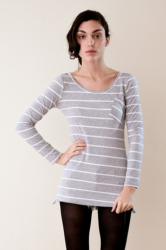 Striped Long Sleeve Tee with Tilted Patch Pocket S