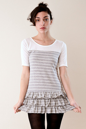 Heather Gray and White Striped Tiered Ruffled Mini Dress S