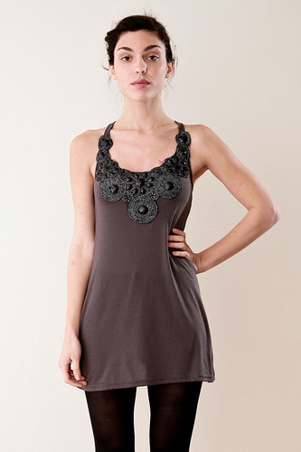 Gray Crossback Tank Mini Dress Top with Jewels XS