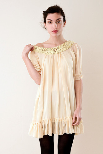 Yellow Cream Mini Dress Crochet Neck Ruffle Hem XS S M L