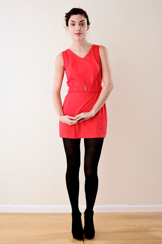 Tomato Red Sleeveless Shift Dress with Belt S