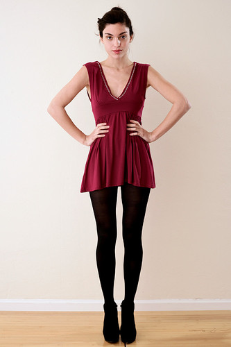 Burgundy V Neck Rhinestone Mini Dress Top S
