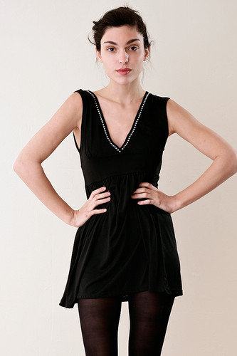 Black V Neck Rhinestone Mini Dress Top S