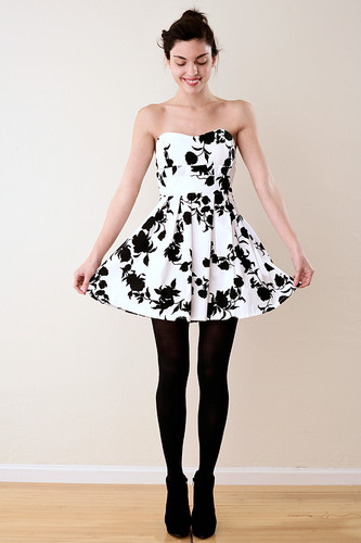 Strapless Padded Black Flower Party Dress S