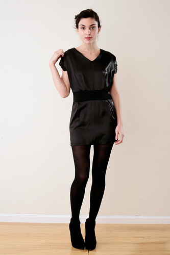 Black Satin Mini Dress M
