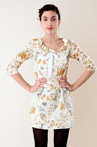 A-Line Pleated Neck Floral Mini Dress Yellow S