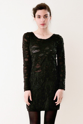 Shreded Long Sleeve Mini Dress Black (fits S M L)