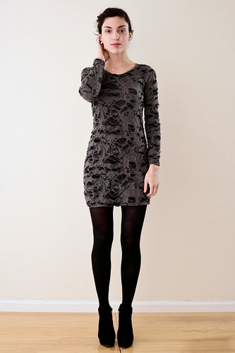 Shredded Long Sleeves Mini Dress Grey (fits S M L)