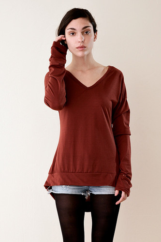 Hi Lo Tee Ultra Long Sleeve V Neck T Shirt One Size