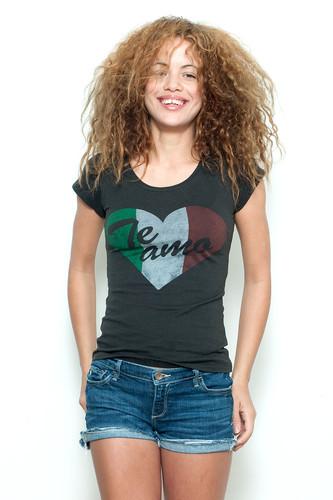 "Used Junk Food T Shirt Tee 50/50 Te Amo Italian Heart BLACK M (15"" width)"
