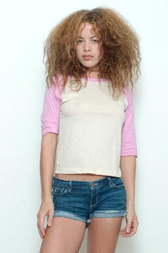 "Junk Food T Shirt Raglan Tee 50/50 blank CREAM PINK M (17"" width)"