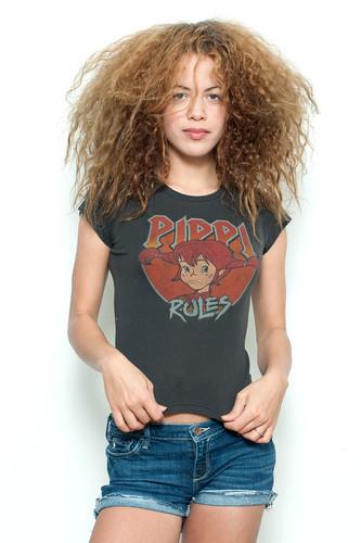 "Used Junk Food T Shirt Tee 50/50 Pippi Longstocking Rules BLACK (16"" width)"