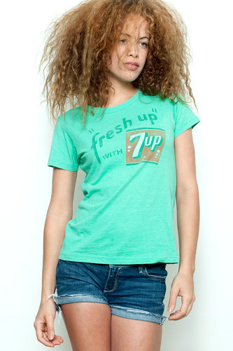 "Used Junk Food T Shirt Tee 50/50 Fresh Up with 7 UP Seven Up GREEN L (17"" width)"