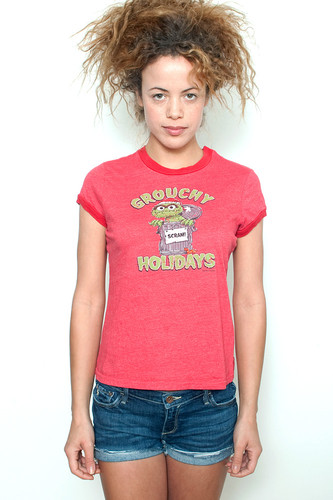 "Used Junk Food T Shirt Ringer Tee Grouchy Holidays SCRAM! RED M (17"" width)"