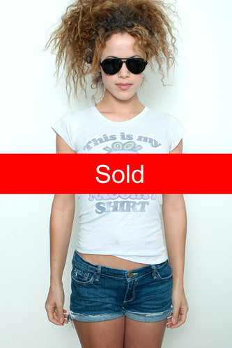 """Junk Food T Shirt Tee 50/50 This is my Little Miss Naughty Shirt PERIWINKLE M (15"""" width)"""