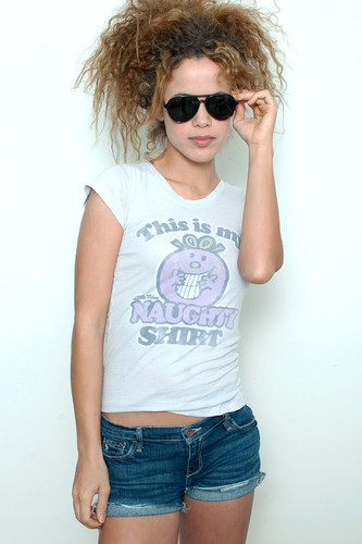 Junk Food T Shirt Tee 50/50 This is my Little Miss Naughty Shirt PERIWINKLE M (15&quot; width)