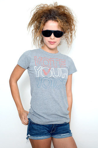 "Junk Food T Shirt Tee 50/50 Vote Your Voice HEATHER GRAY L (16"" width)"