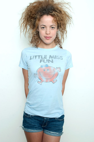 Junk Food T shirt 50/50 Tee Little Miss Fun PALE BLUE S (16&quot; width)