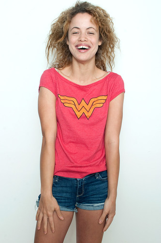 "Used Junk Food T shirt 50/50 Tee Wonder Woman RED XL (18"" width)"