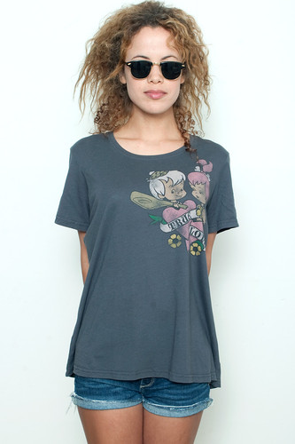 "Junk Food T shirt 50/50 Flintstone True Love Babies Gray 3 3X (24"" width)"