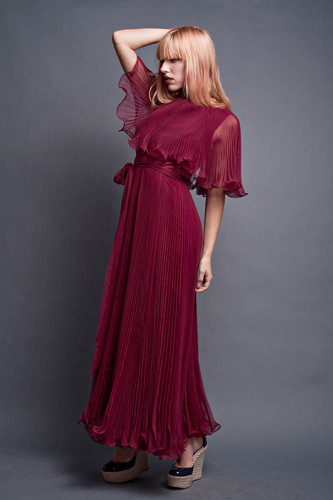 "Vintage 70s Flowy Maxi Dress Sheer Burgundy Pleated Ruffles Pleats Cape with Belt Sash M (36"" Bust)"