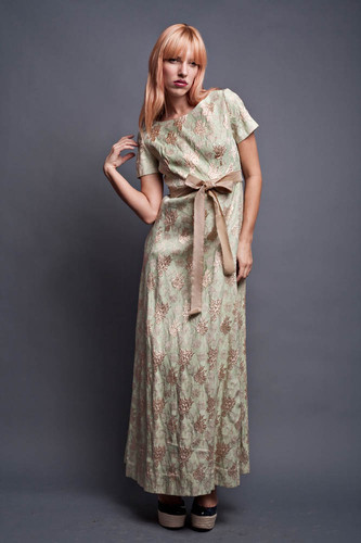 "Vintage 60s Maxi Dress Party Cocktail Light Green with Gold Metallic Flower Scroll Cap Sleeves Vogue Paris Original S (34"" Bust)"