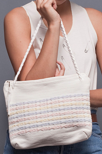 Vintage Woven White Pastel Fabric Bag Purse Tote