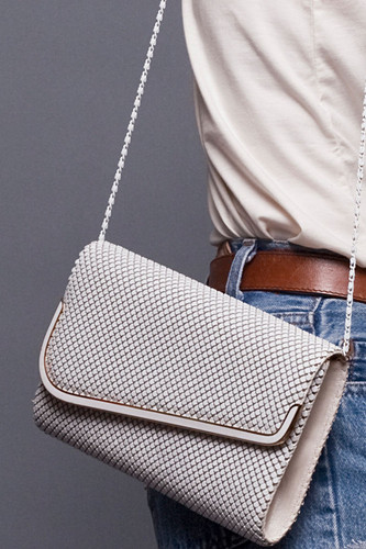 Vintage White Structured Chainmail Sling Bag Purse Clutch Convertible