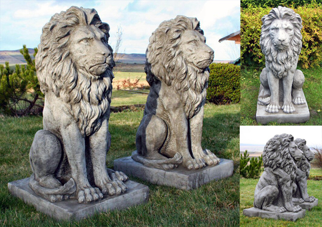 Stunning Pair Large Sitting Stone Cast Lions Garden Ornaments