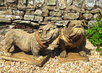 Wonderful pair of bulldogs, hand made in England
