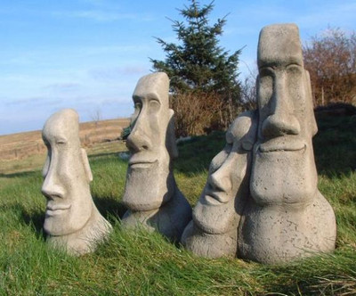 Set Of 3 Easter Island Head Statues