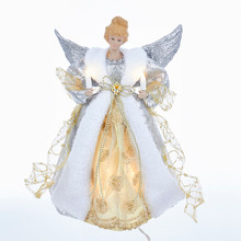 Kurt Adler 12in 10L Silver & Gold Angel Treetopper #UL1998