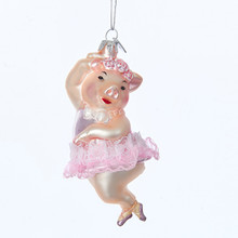 Kurt Adler 4.75in Ballerina Pig Ornament #NB1166