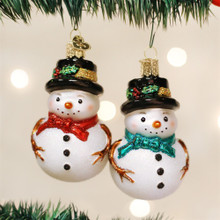 Old World Christmas Holly Hat Snowman Ornament, 2 Assorted #24159