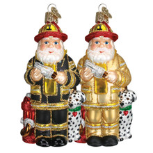 Old World Christmas Fireman Santa Ornament, 2 Assorted #40109