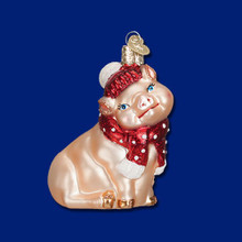 Old World Christmas Snowy Pig Ornament #12419