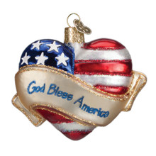 Old World Christmas God Bless America Heart Ornament #30037