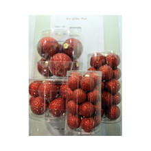 Solid Glass Ball Ornament in Red Glitter Dust, 6-Pack