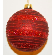 Red Glitter Stripe Glass Ball Ornament, 4-Pack
