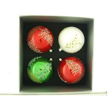 Red, White & Green Christmas Tree Glass Ball Ornament, 4-Pack