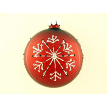 Red Glitter Snowflake Glass Ball Ornament, 4-Pack